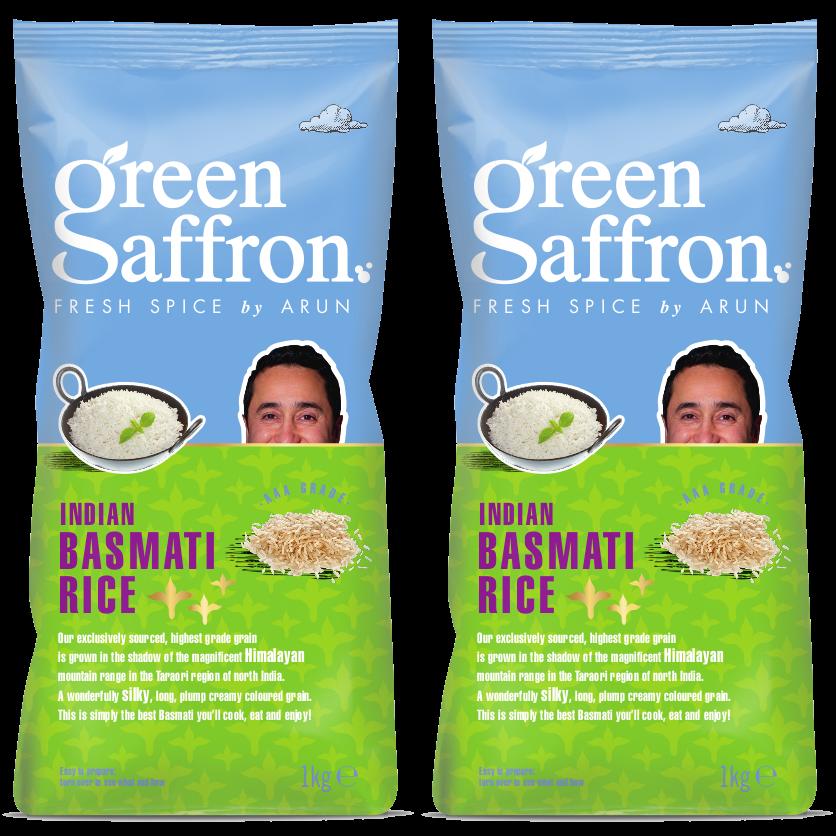 2 packs of Green Saffron Basmati Rice